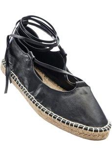 Балетки на шнуровке (черный) Bonprix