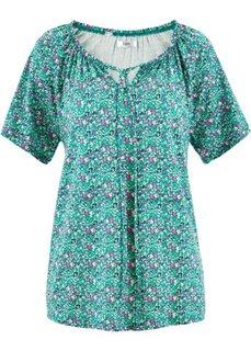 Блузка с короткими рукавами (изумрудный в цветочек) Bonprix