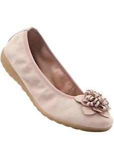 Кожаные балетки (полнота стопы G) (нежно-розовый) Bonprix