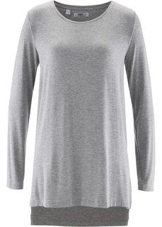 Удлиненная футболка с разрезами (светло-серый меланж) Bonprix