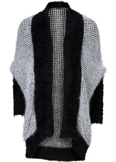 Кардиган в стиле оверсайз (черный/цвет белой шерсти) Bonprix