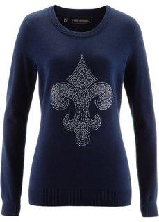 Пуловер с лилией из стразов (темно-синий) Bonprix