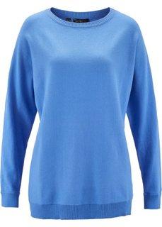 Пуловер с рукавом летучая мышь (голубой) Bonprix