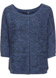 Вязаный пуловер с рукавом летучая мышь (синий меланж) Bonprix