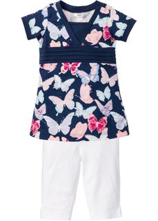 Длинная футболка и легинсы (ночная синь с рисунком бабочек) Bonprix