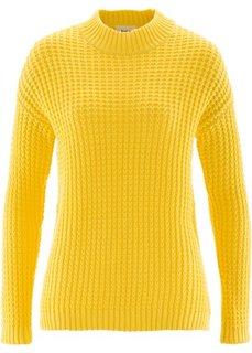 Пуловер с воротником-стойкой и структурным узором (желтый) Bonprix