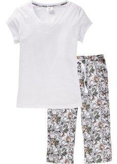 Пижама-капри из биохлопка (белый/цветочный принт) Bonprix