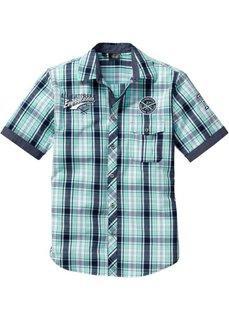 Рубашка в клетку стандартного прямого покроя regular fit (мятно-зеленый в клетку) Bonprix
