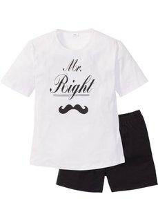 Пижама с шортами (черный/белый с рисунком) Bonprix