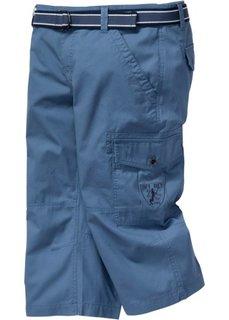 Брюки в неформальном стиле длиной 3/4 и ремень (синий джинсовый) Bonprix