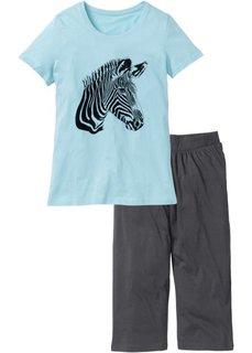 Пижама-капри (мятный/серый с принтом) Bonprix