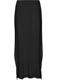 Трикотажная юбка с разрезом (черный) Bonprix