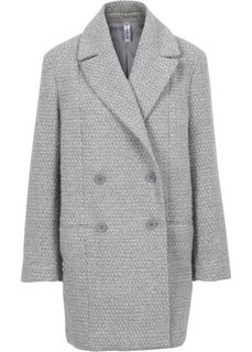 Полупальто в стиле бойфренд (светло-серый/меланжевый цвет белой шерсти) Bonprix