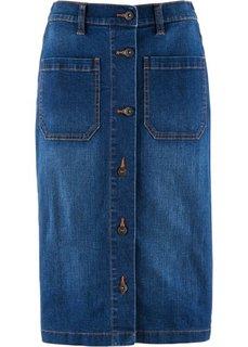 Стретчевая джинсовая юбка (синий «потертый») Bonprix