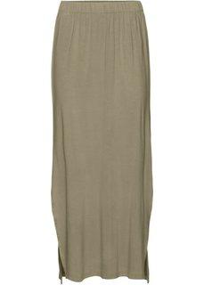 Трикотажная юбка с разрезом (камышово-бежевый) Bonprix