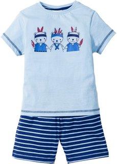 Пижама с шортами (2 изд.) (нежно-голубой/ночная синь) Bonprix
