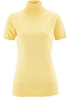 Пуловер с высоким воротом и коротким рукавом (нежно-желтый) Bonprix