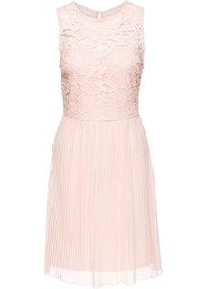 Трикотажное платье с плиссированной юбкой и кружевом (розовый) Bonprix