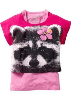 Короткая футболка + тэнк топ (2 изделия в упаковке) (горячий ярко-розовый с рисунком енота/розовый) Bonprix