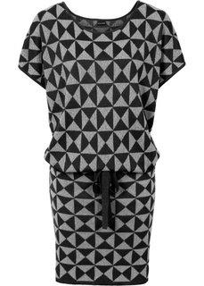 Вязаное платье (черный/серебристый) Bonprix