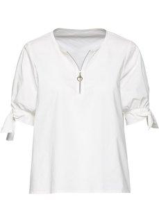 Блузка на молнии (белый) Bonprix