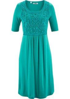 Платье с кружевной вставкой и коротким рукавом (изумрудный) Bonprix