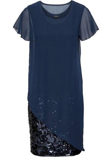 Коктейльное платье с пайетками (темно-синий)