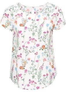 Блузка с коротким рукавом (цвет белой шерсти в цветочек) Bonprix