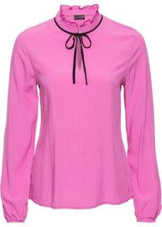 Блузка с бантом (нежная фуксия/черный) Bonprix