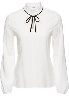 Блузка с бантом (цвет белой шерсти/черный) Bonprix