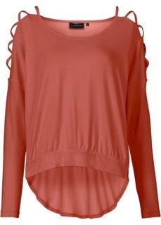 Пуловер с вырезами на рукавах (ржаво-красный) Bonprix