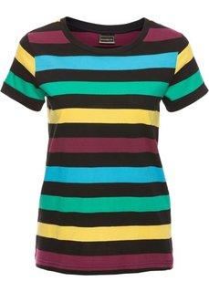 Полосатая футболка (черный/карибский синий) Bonprix