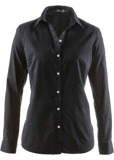 Блуза-рубашка с длинными рукавами (черный) Bonprix