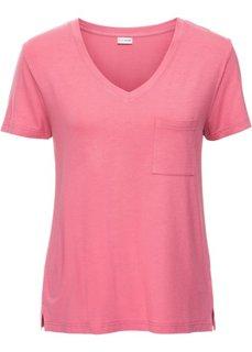 Трикотажная футболка с V-образным вырезом (ярко-розовый матовый) Bonprix