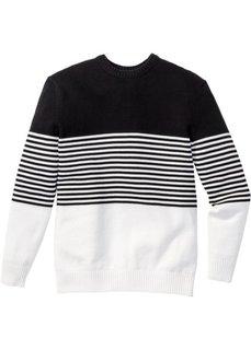 Пуловер Regular Fit в полоску (черный/белый в полоску) Bonprix