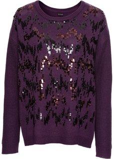 Пуловер с пайетками (темно-лиловый) Bonprix