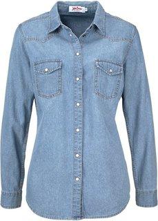 Джинсовая рубашка с длинным рукавом (нежно-голубой выбеленный) Bonprix