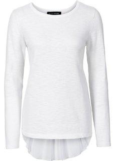 Пуловер с вставкой в виде блузки (белый) Bonprix