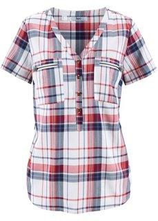 Блузка с коротким рукавом (белый/индиго в клетку) Bonprix