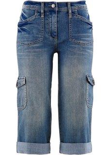 Карго-джинсы-стретч капри (темно-синий «потертый») Bonprix