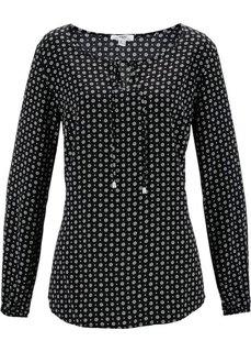 Блузка с длинным рукавом (черный/цвет белой шерсти с рисунком) Bonprix