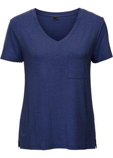 Трикотажная футболка с V-образным вырезом (ночная синь) Bonprix