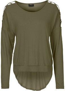 Пуловер с вырезами на рукавах (зеленый хаки) Bonprix
