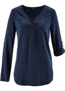 Блузка из вискозы с длинным рукавом (темно-синий) Bonprix