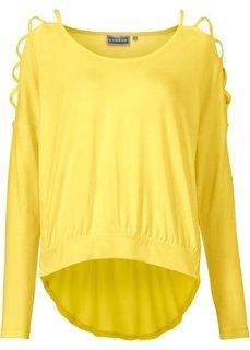 Пуловер с вырезами на рукавах (лимонный) Bonprix