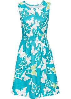 Платье с рисунком бабочек (бирюзовый/кремовый с узором) Bonprix