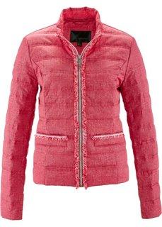 Стеганая куртка с имитацией денима (ярко-розовый гибискус/белый с рисунком) Bonprix