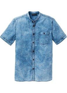 Джинсовая рубашка Slim Fit с коротким рукавом (синий «мраморный») Bonprix