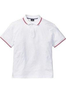 Футболка-поло Regular Fit (белый в горошек) Bonprix