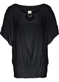 Туника с кружевной отделкой (черный) Bonprix